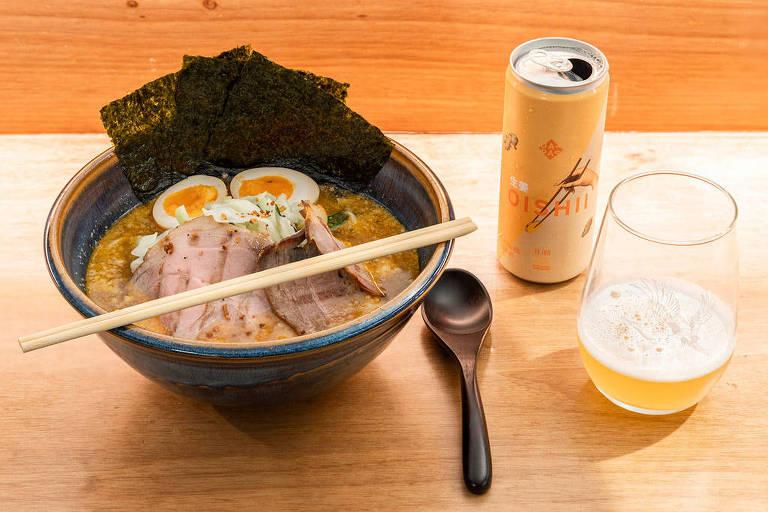 Misso Ramen, do Jojo Ramen, harmonizado com a cerveja Oishii, da Japas Cervejaria