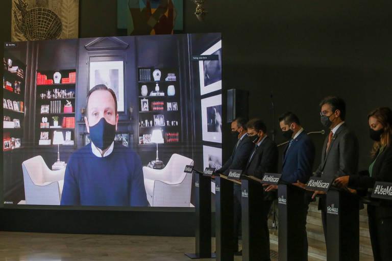 Doria fala por vídeo durante entrevista coletiva no Palácio dos Bandeirantes, na quarta (19)