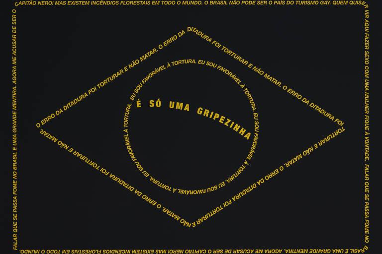 bandeira do brasil em preto com delineado com frases de Bolsonaro sobre o coronavírus em amarelo