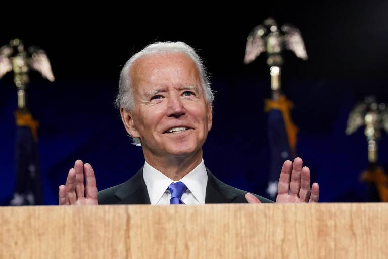 O democrata Joe Biden discursa na convenção virtual do partido