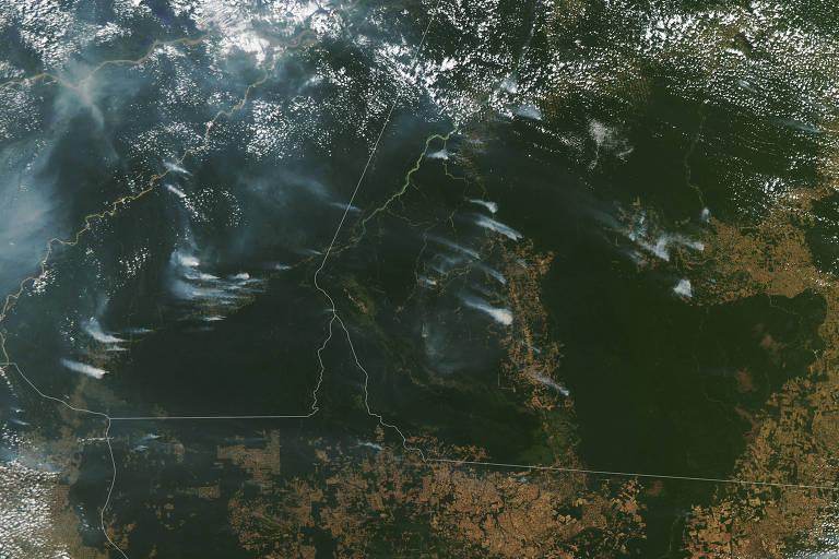 Colunas de fumaça sobem do meio da floresta
