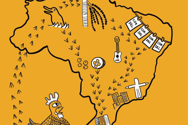 Ilustração do mapa do brasil com símbolos regionais