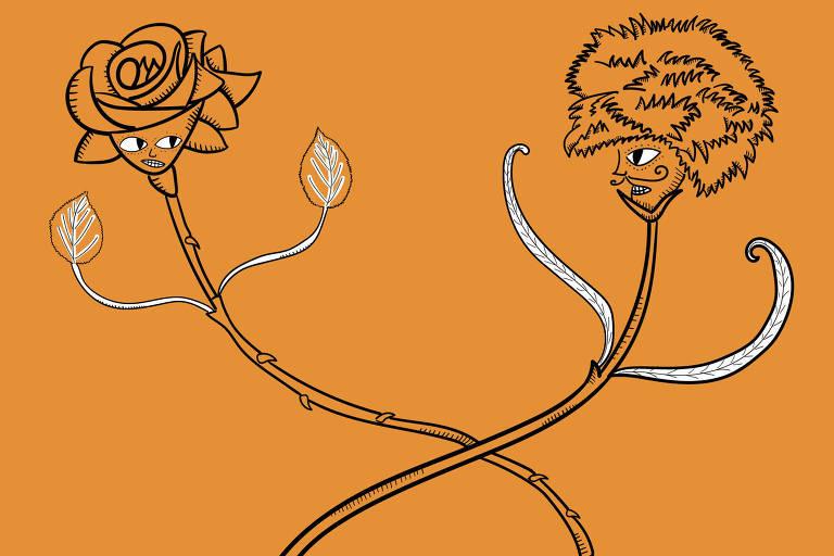 Ilustração de duas flores entrelaçadas e brigando