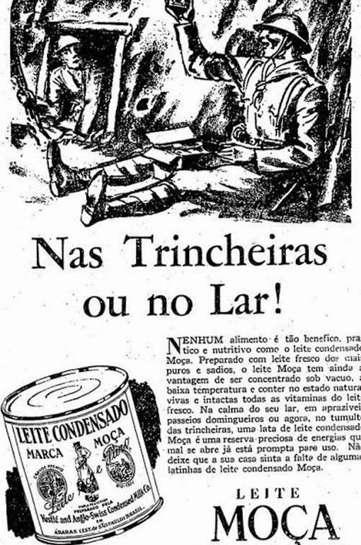 Propaganda com desenho de soldado sentado no chão
