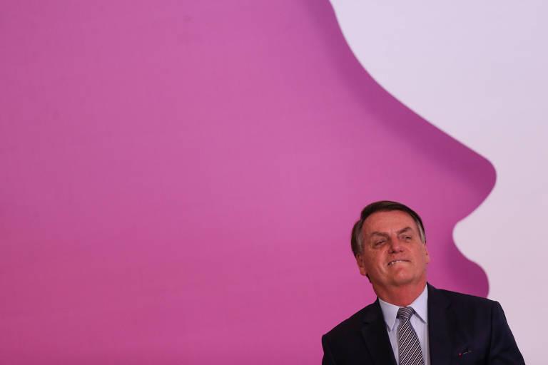O presidente Jair Bolsonaro durante solenidade do Dia da Mulher, no Palácio do Planalto