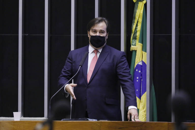 O presidente da Câmara, Rodrigo Maia (DEM - RJ), durante sessão para análise de vetos