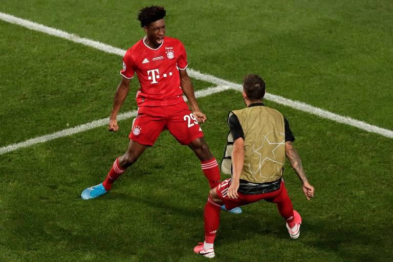Kingsley Coman comemora o seu gol que decidiu o título da Champions League