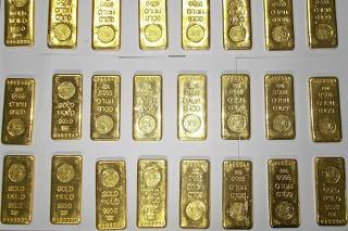 File photo of seized gold bars on displayed by custom officers at the international airport in Kolkata