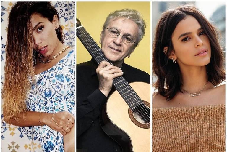 Anitta, Caetano Veloso e Bruna Marquezine