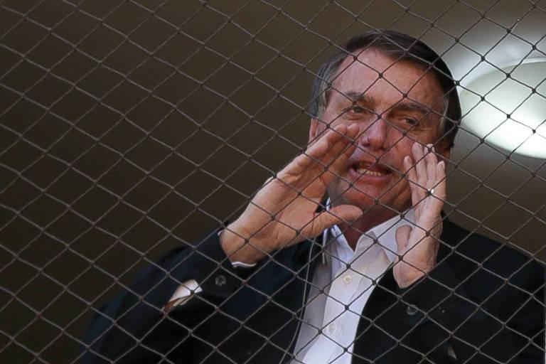 Atrás de uma tela de proteção de uma janela, Bolsonaro fala com as duas mãos perto da boca