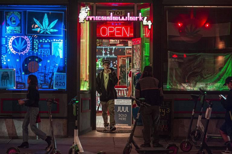 Fachada de loja de produtos para maconha na cidade de Denver, no Colorado, um dos estados que legalizaram o uso da droga