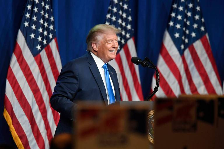 O presidente dos EUA, Donald Trump, durante o primeiro dia da convenção republicana, em Charlotte