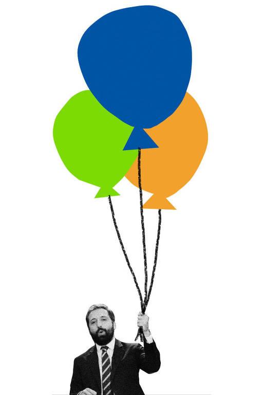 Colagem com foto de Gregorio Duvivier em preto e branco segurando três balões que estão flutuando