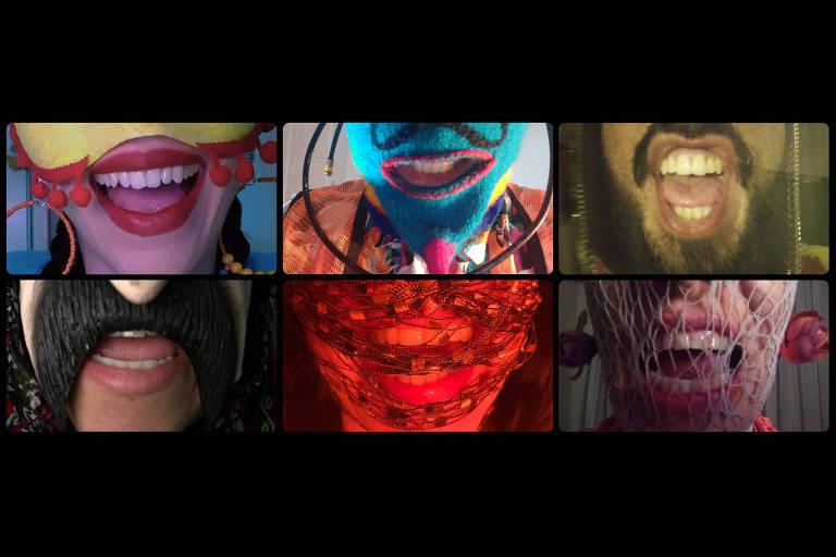 seis bocas cobertas por máscaras de diferentes materiais, cada uma numa tela do zoom