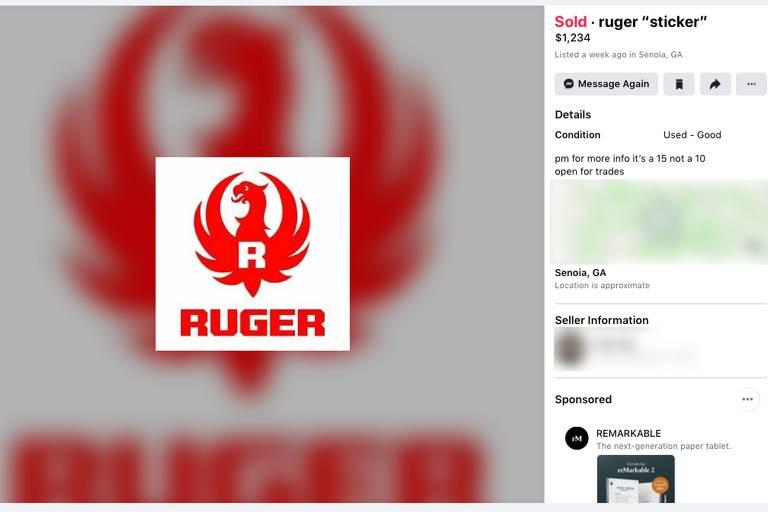 Arma é vendida no Facebook disfarçada sob uma venda de adesivos no valor de US$ 1.234 (R$