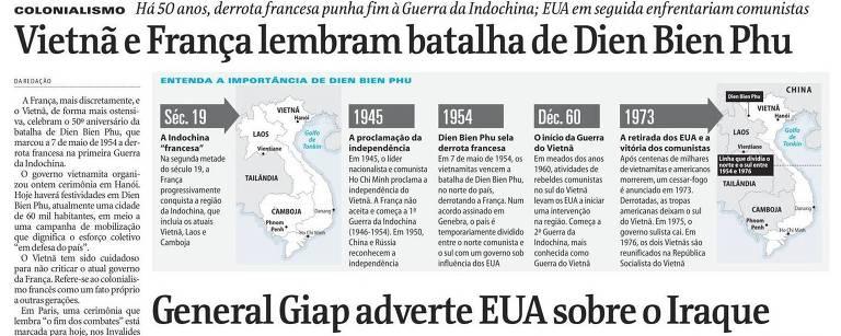 Reprodução da página do jornal que mostra o mapa e linha do tempo da batalha