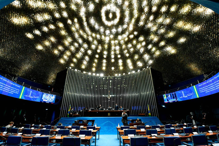 Plenário do Senado durante sessão remota do Congresso