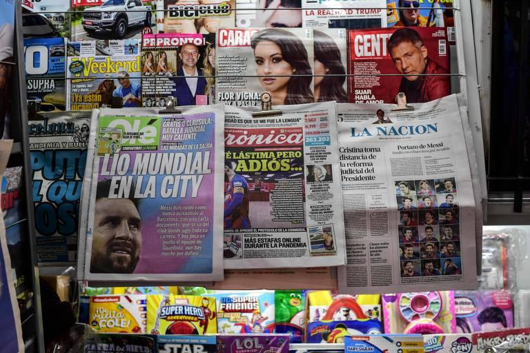Lionel Messi na capa dos jornais argentinos de quarta (26)