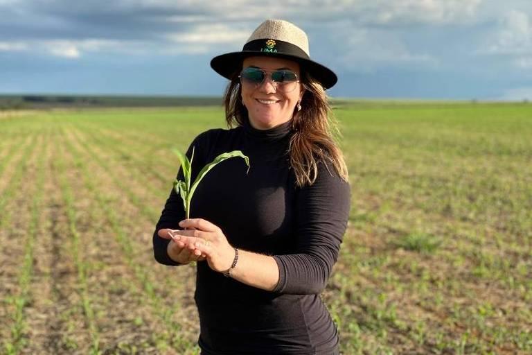 A produtora Cristiane Steinmetz, que lidera a gestão da Fazenda Boa Vista, que produz soja e milho em Mineiros (GO)