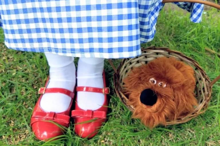 Foto dos sapatinhos velhos sendo usados por uma criança