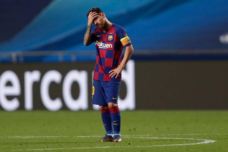 Jogador Messi após a derrota por 8 a 2 para o Bayern Munique