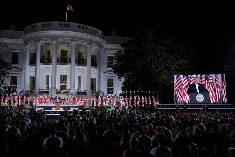 O presidente americano, Donald Trump, discursa no encerramento da convenção republicana, na Casa Branca