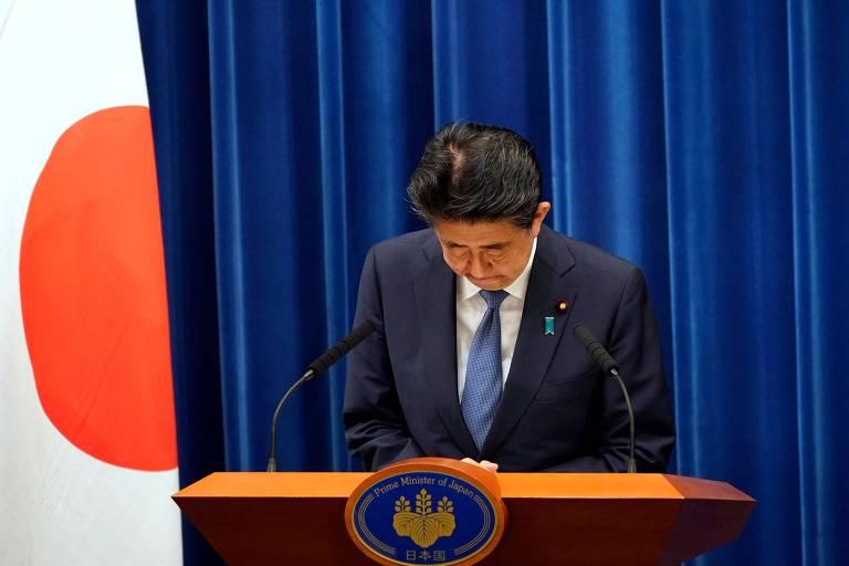 O primeiro-ministro do Japão, Shinzo Abe, durante entrevista coletiva em que anunciou sua renúncia, em Tóquio