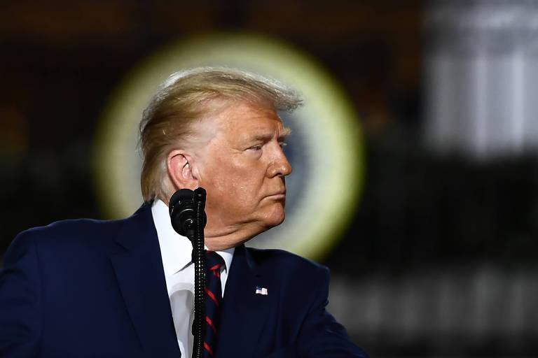 O presidente americano, Donald Trump, aceita formalmente a nomeação como candidato do partido à reeleição, na convenção republicana realizada na Casa Branca