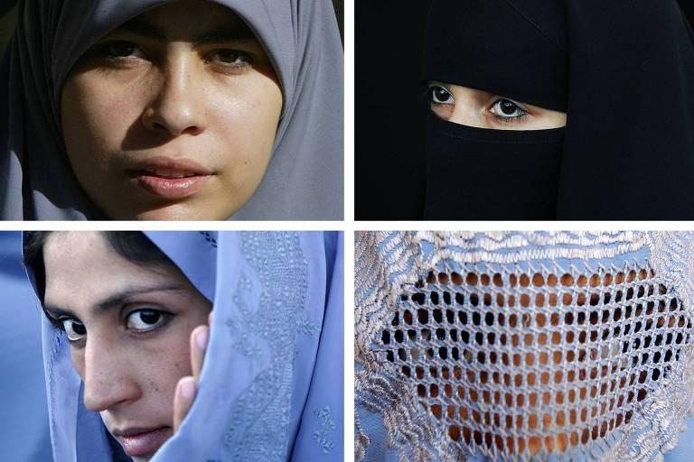 quatro foto de diferentes mulheres muçulmanas usando lenços que cobrem os cabelos ou todo o rosto