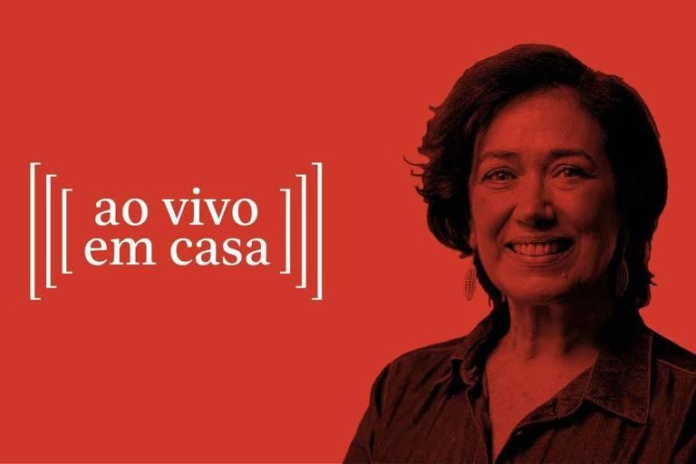 Lilia Cabral em fundo vermelho