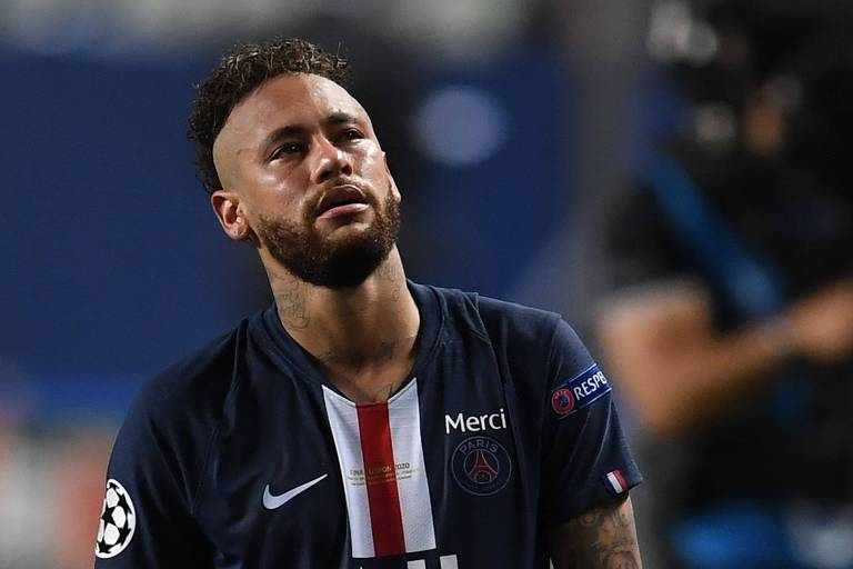 Neymar durante a final da Champions League, quando o PSG foi derrotado pelo Bayern
