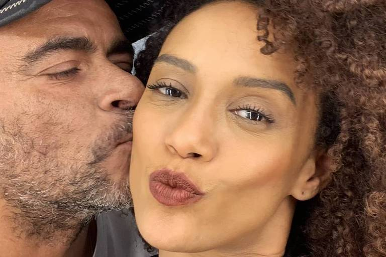 Taís Araújo com o cabeleireiro Wilson Eliodorio
