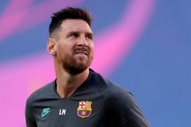 Lionel Messi durante treino do Barcelona