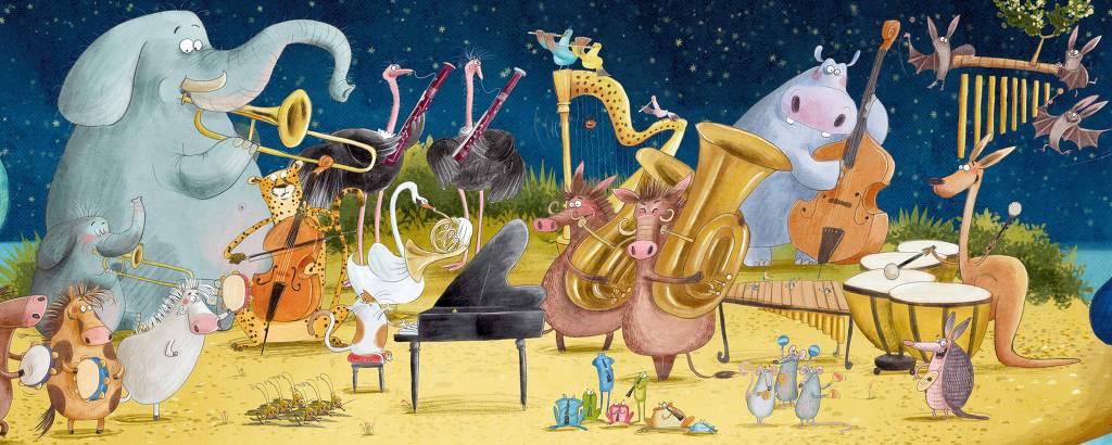Ilustração mostra banda de animais sob a lua.