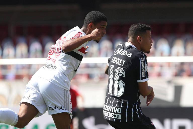 30/08/2020 - São Paulo 2 x 1 Corinthians - Morumbi. Brenner cabeceia para marcar o segundo gol do SPFC. Foto: Rubens Chiri/Divulgação SPFC