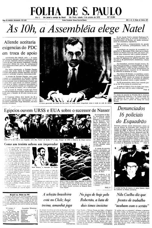 Primeira Página da Folha de 3 de outubro de 1970
