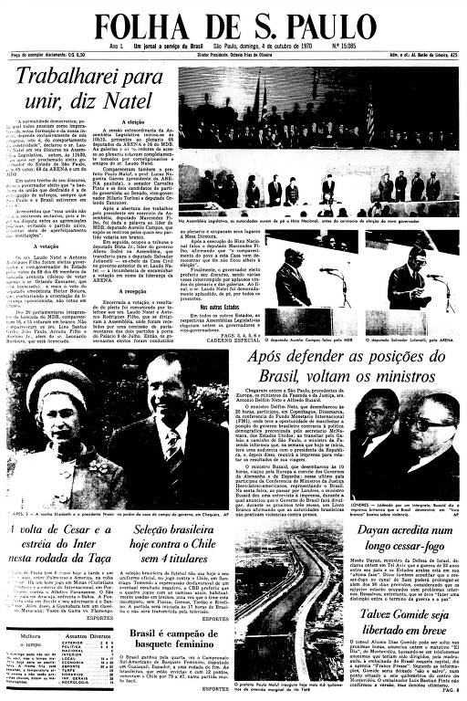 Primeira Página da Folha de 4 de outubro de 1970