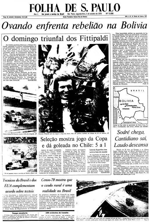 Primeira Página da Folha de 5 de outubro de 1970