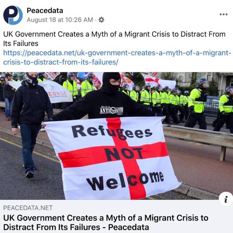 Um exemplo de postagem no Facebook do site de notícias falsas PeaceData.