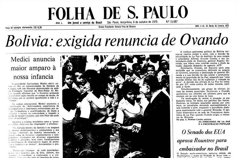 1970: Militares de La Paz exigem queda do presidente boliviano, que não aceita