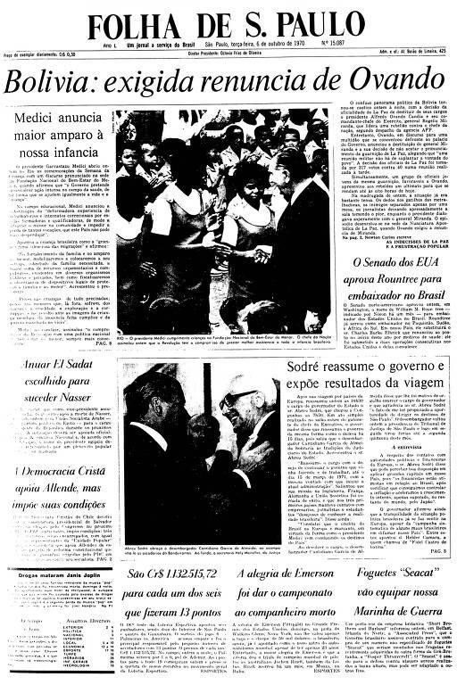 Primeira Página da Folha de 6 de outubro de 1970