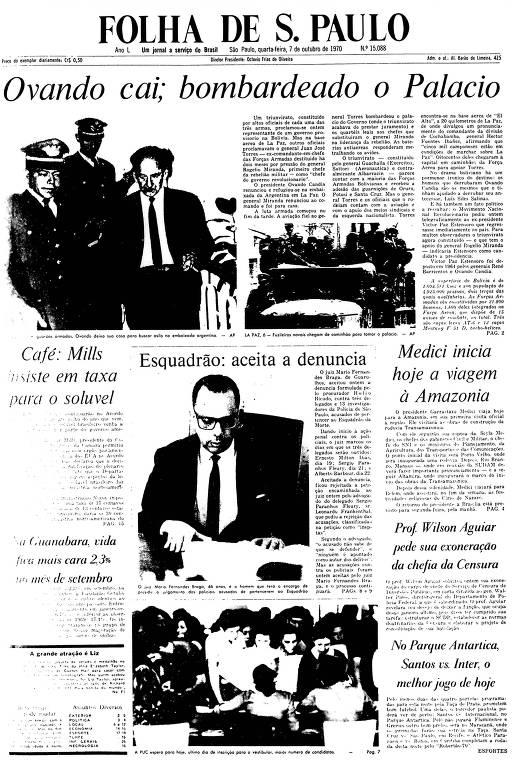 Primeira Página da Folha de 7 de outubro de 1970