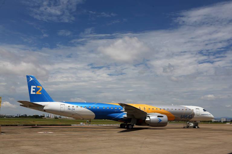 Um Embraer E195-E2, da nova geração de aviões regionais da fabricante paulista