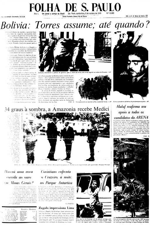 Primeira Página da Folha de 8 de outubro de 1970