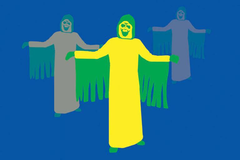 Ilustração de três pessoas vestindo máscara, roupa reta que cobre o corpo todo e capa com pontas