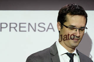 Prosecutor Deltan Dallagnol attends a news conference in Curitiba