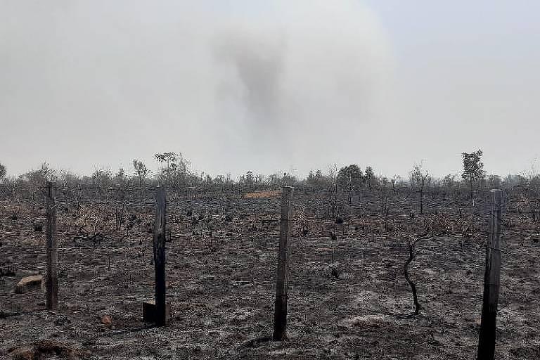 Área devastada pelo fogo em Chapada dos Guimarães (MT)