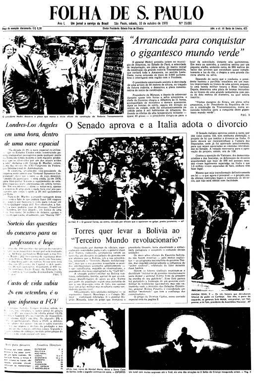 Primeira Página da Folha de 10 de outubro de 1970