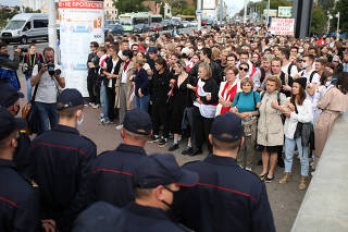 Students protest against presidential election results in Minsk