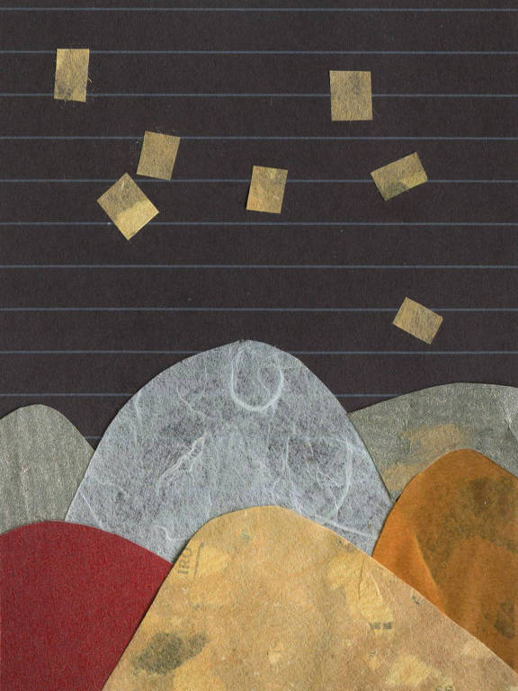 Desenho abstrato com morros e fundo preto